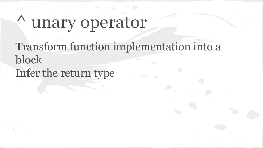 ^ unary operator Transform function implementat...