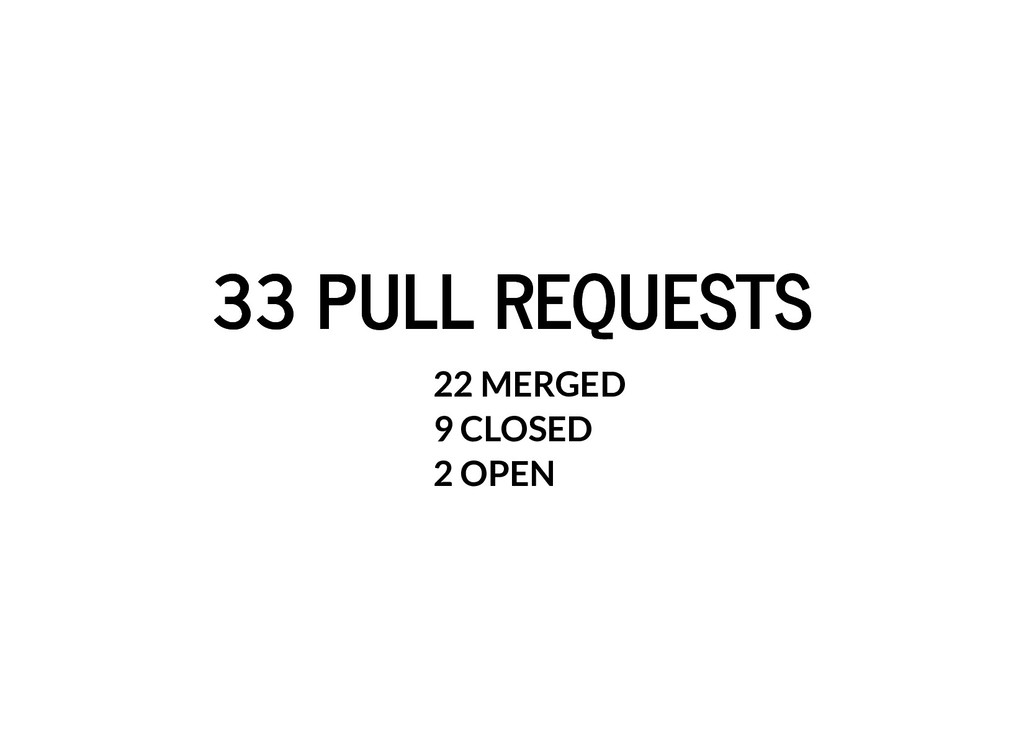 33 PULL REQUESTS 33 PULL REQUESTS 22 MERGED 9 C...