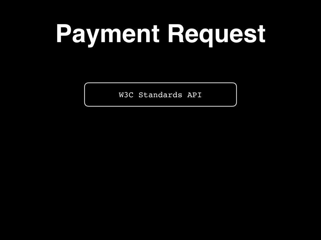 W3C Standards API Payment Request