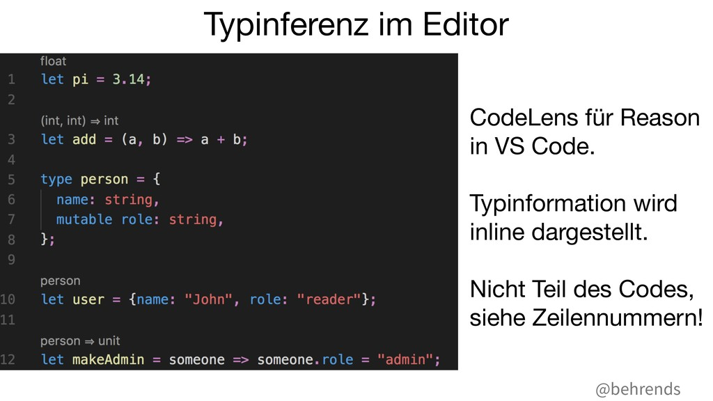 @behrends CodeLens für Reason in VS Code.  Typi...
