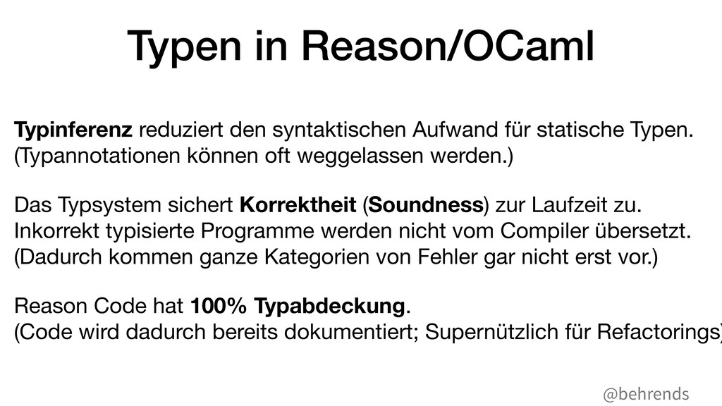 @behrends Typen in Reason/OCaml Typinferenz red...