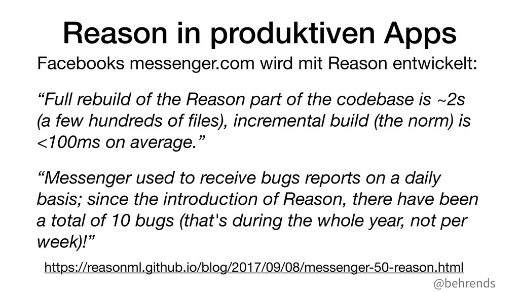 @behrends Reason in produktiven Apps Facebooks ...