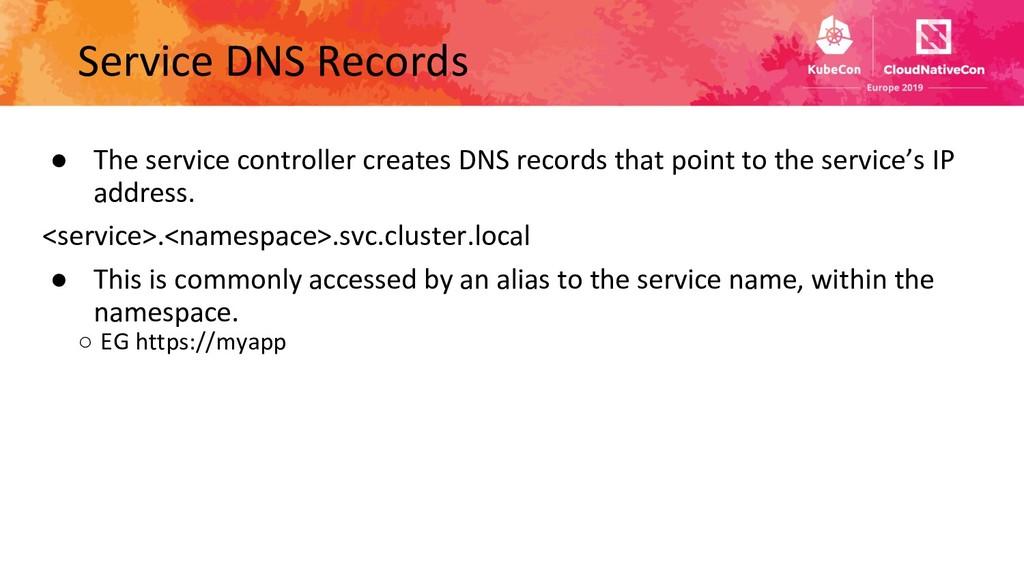 Service DNS Records ● The service controller cr...
