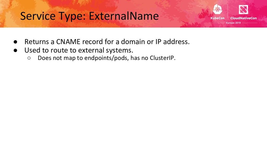 Service Type: ExternalName ● Returns a CNAME re...
