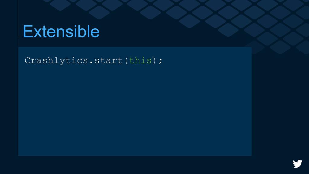 Extensible Crashlytics.start(this);
