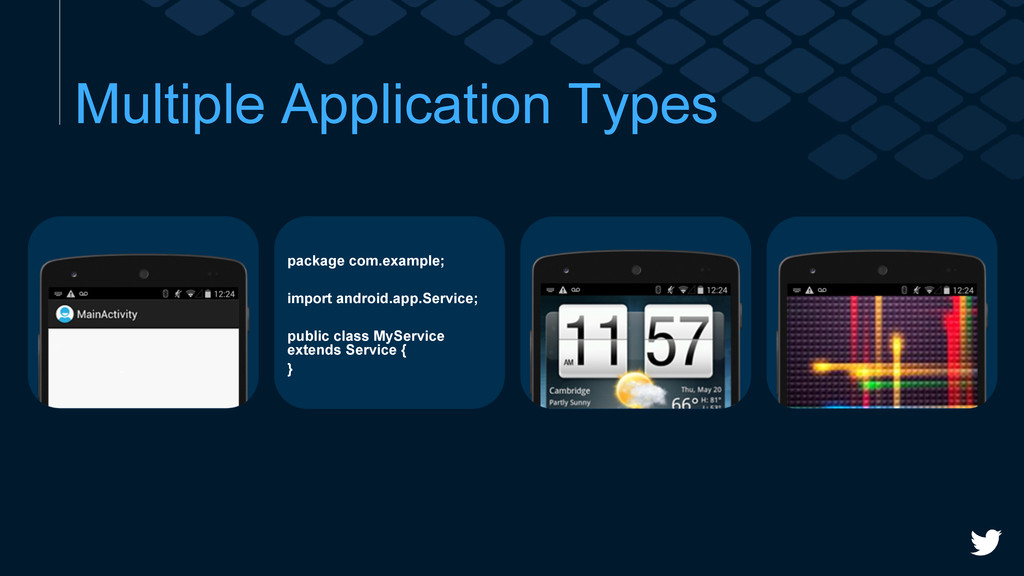 Multiple Application Types package com.example;...