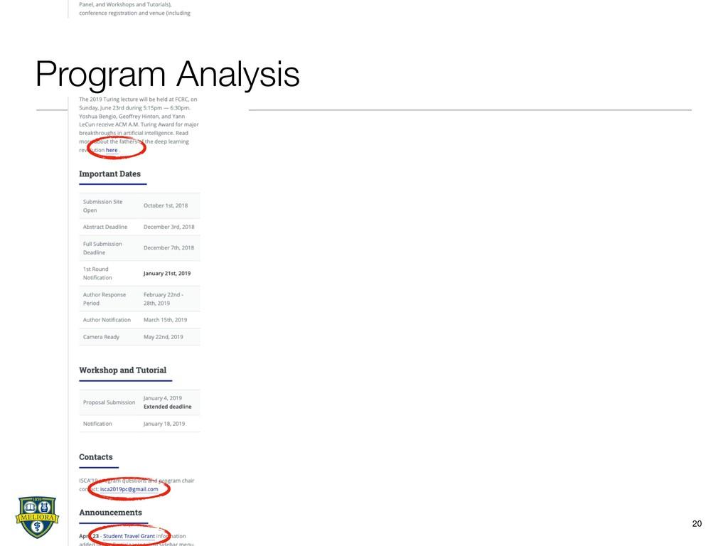20 Program Analysis