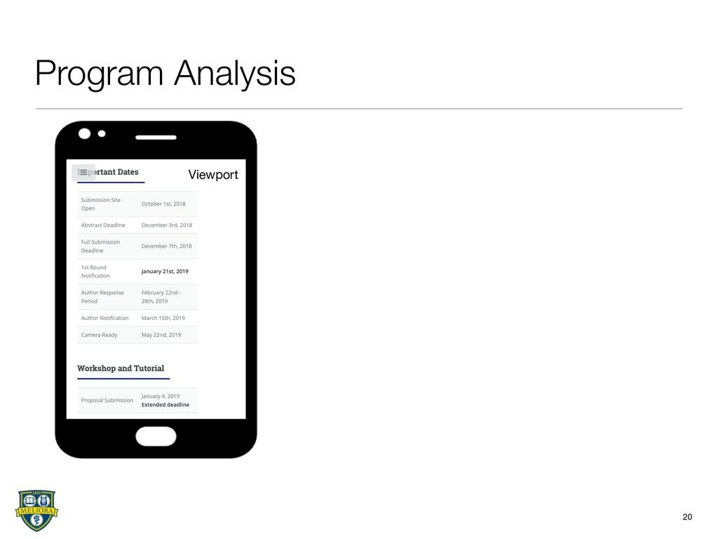 20 Program Analysis Viewport
