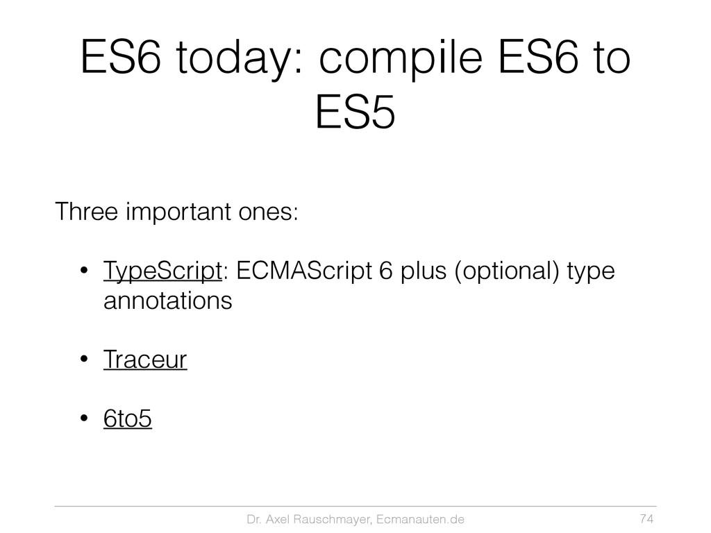 Dr. Axel Rauschmayer, Ecmanauten.de ES6 today: ...