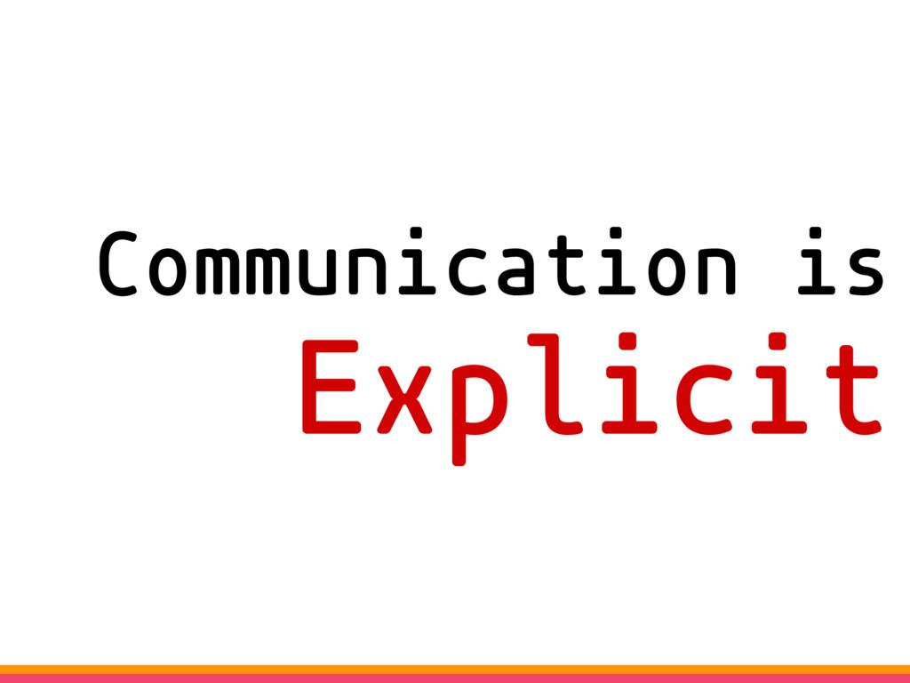 Communication is Explicit
