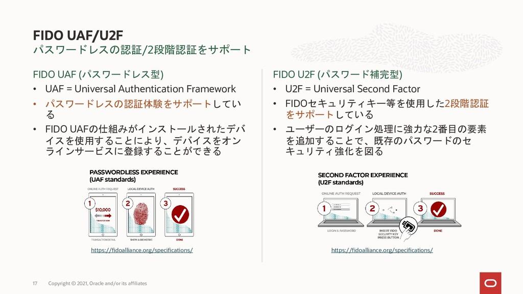パスワードレスの認証/2段階認証をサポート FIDO UAF (パスワードレス型) • UAF...