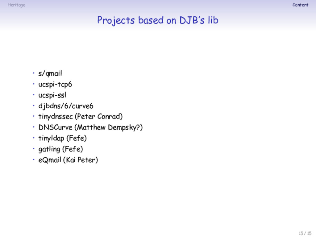 Heritage Content Projects based on DJB's lib • ...