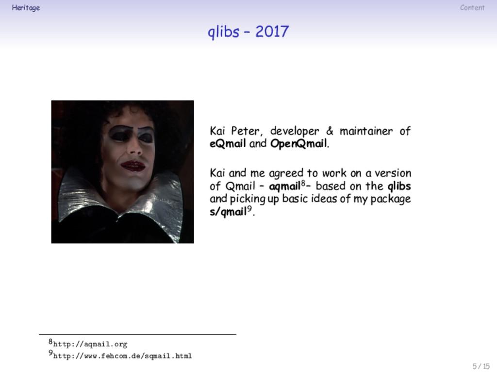 Heritage Content qlibs – 2017 Kai Peter, develo...