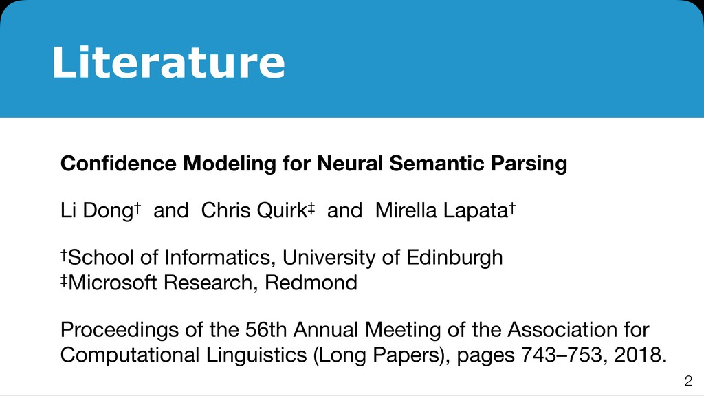 Literature Confidence Modeling for Neural Semant...