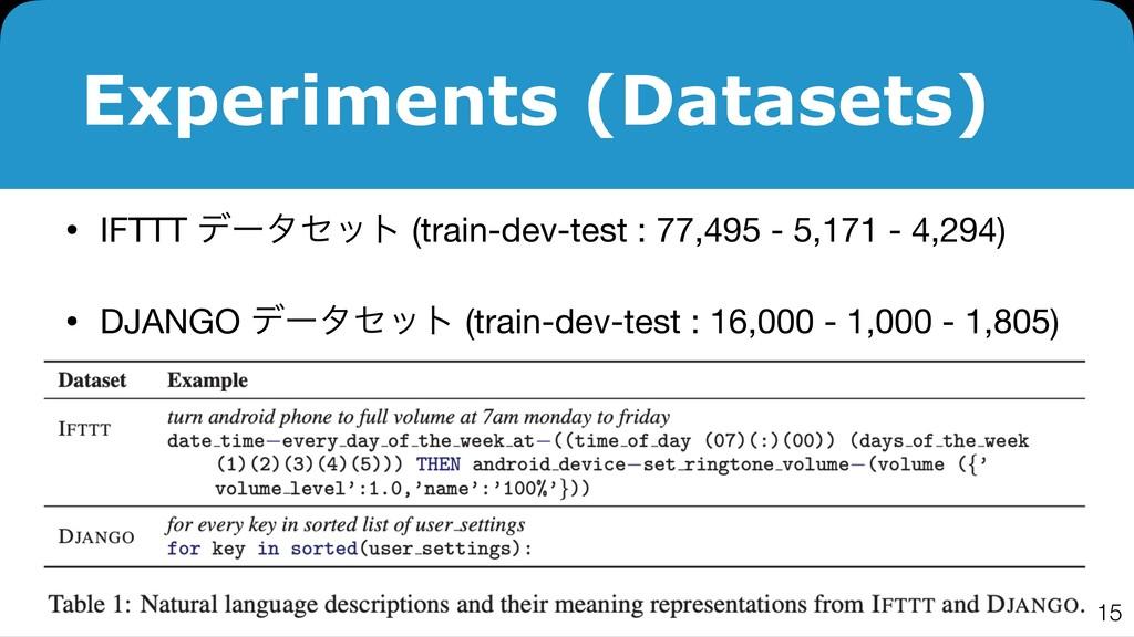 Experiments (Datasets) • IFTTT σʔληοτ (train-de...