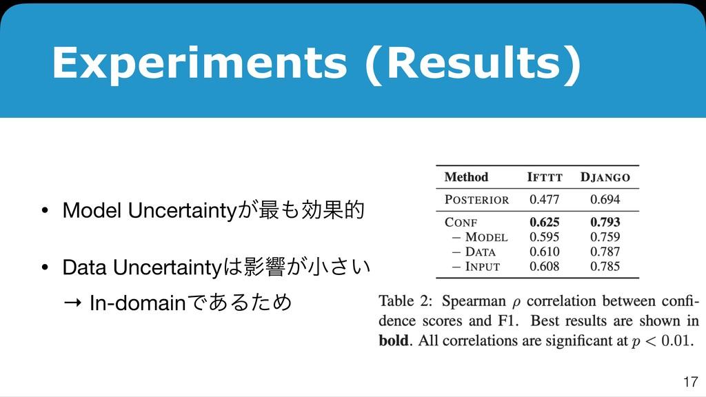 Experiments (Results) • Model Uncertainty͕࠷ޮՌత...