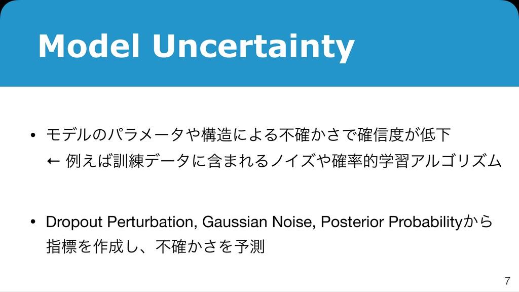 Model Uncertainty • ϞσϧͷύϥϝʔλߏʹΑΔෆ͔֬͞Ͱ֬৴͕Լ...