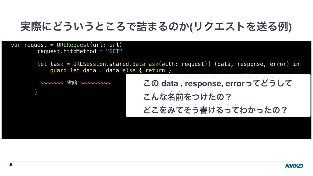 38 ࣮ࡍʹͲ͏͍͏ͱ͜ΖͰ٧·Δͷ͔(ϦΫΤετΛૹΔྫ) var request = UR...