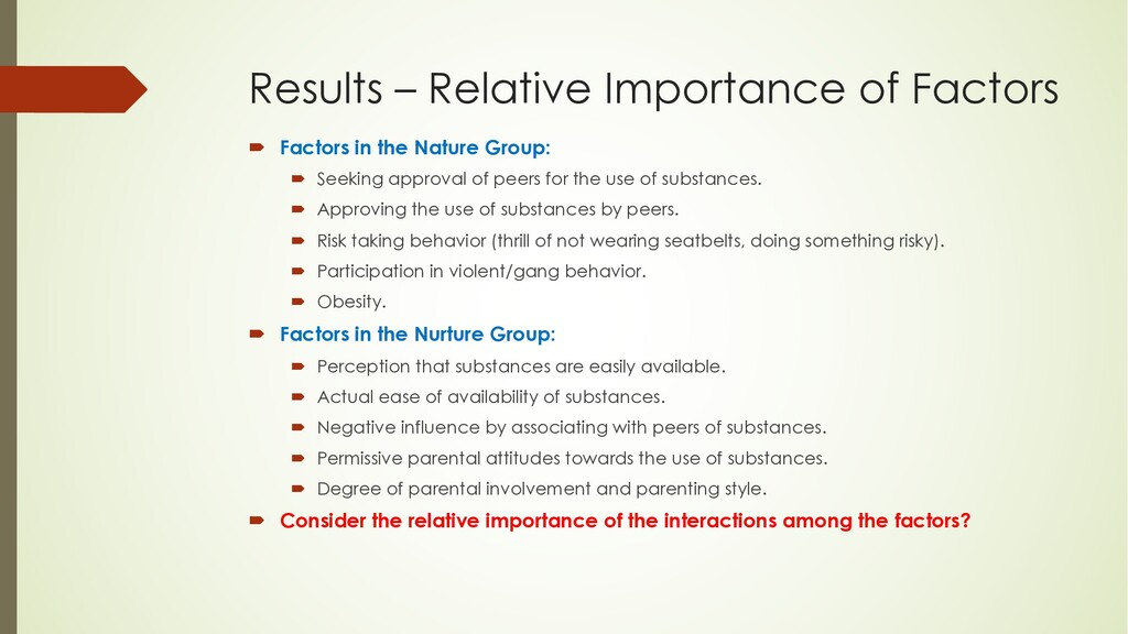 Results – Relative Importance of Factors ´ Fact...