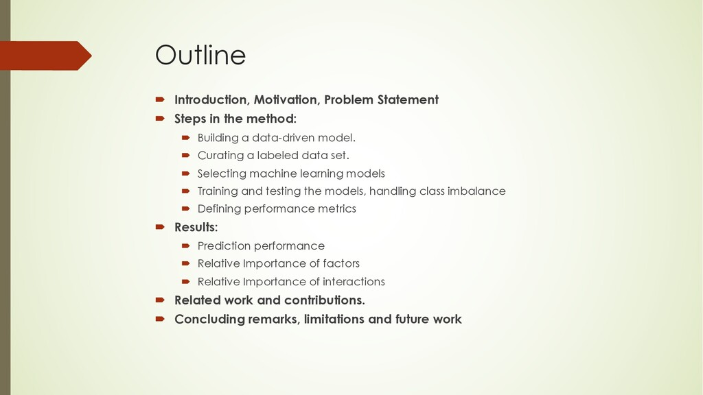 Outline ´ Introduction, Motivation, Problem Sta...