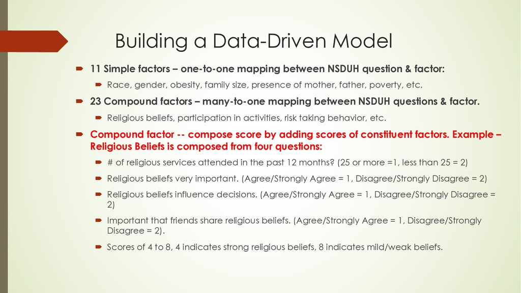 Building a Data-Driven Model ´ 11 Simple factor...