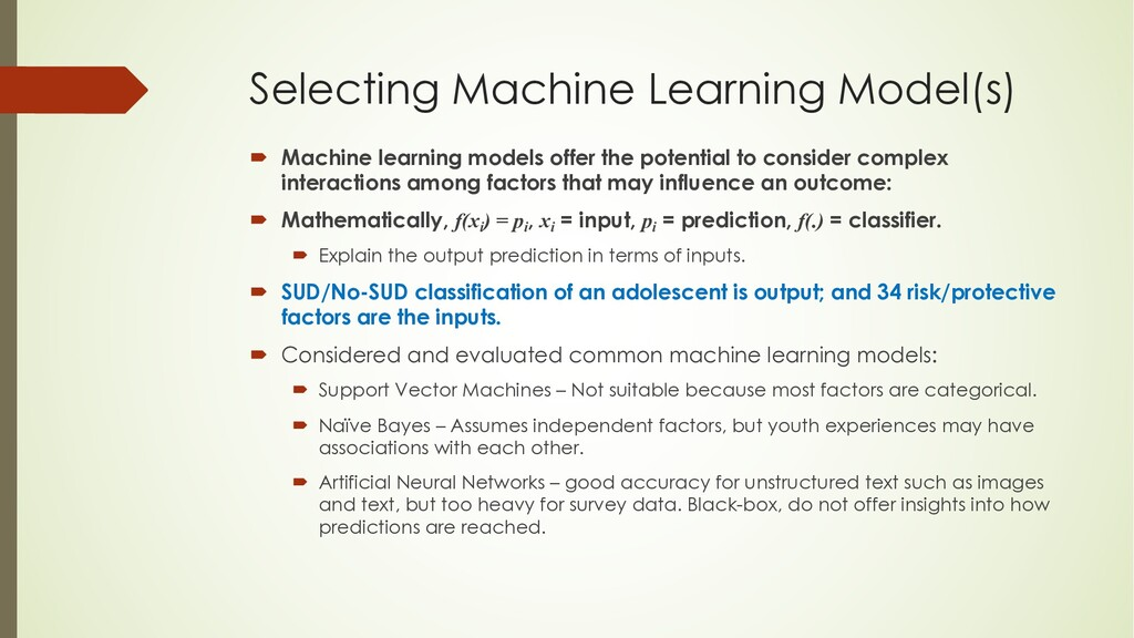 Selecting Machine Learning Model(s) ´ Machine l...