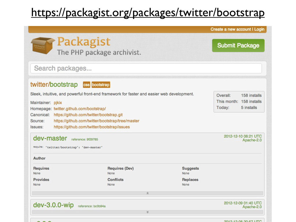 https://packagist.org/packages/twitter/bootstrap