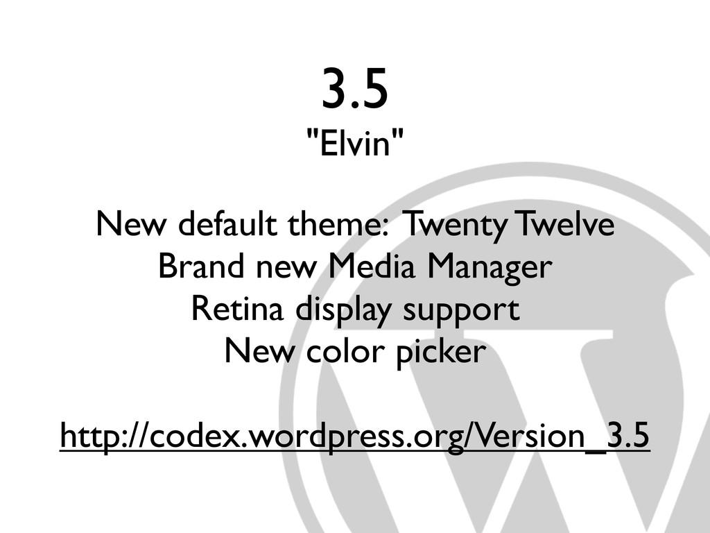 "3.5 ""Elvin"" New default theme: Twenty Twelve Br..."