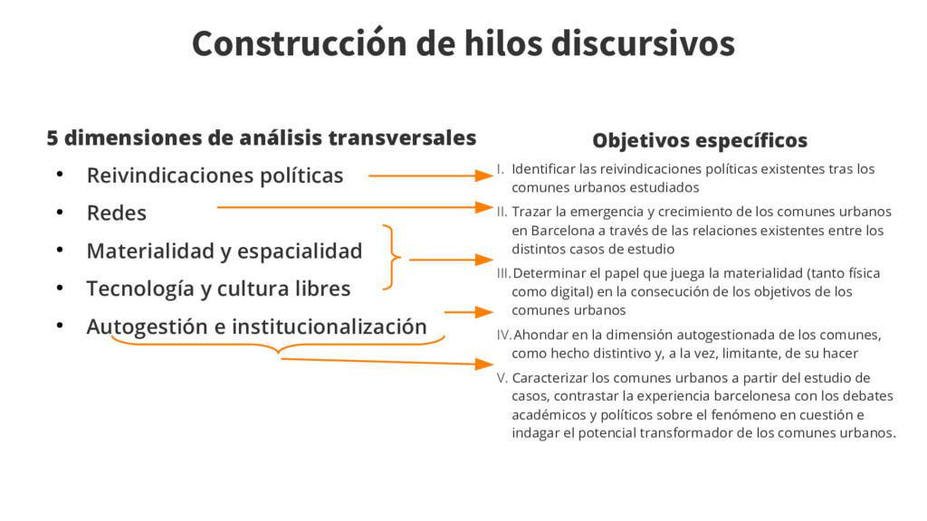 Construcción de hilos discursivos 5 dimensiones...