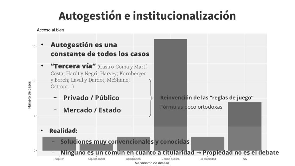 Autogestión e institucionalización ● Autogestió...