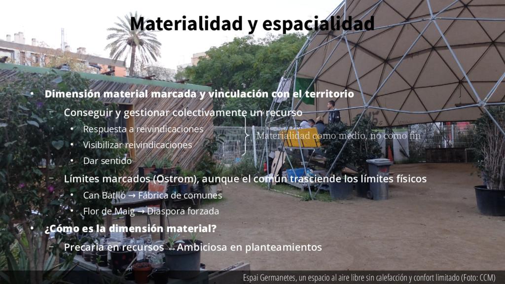 Materialidad y espacialidad ● Dimensión materia...