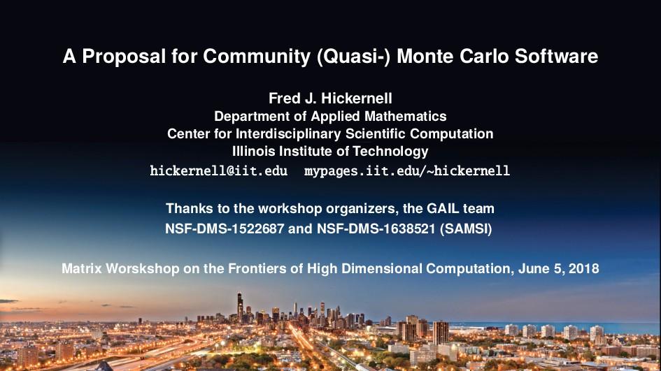 A Proposal for Community (Quasi-) Monte Carlo S...