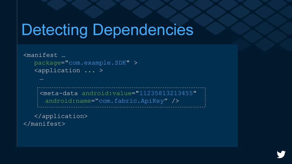 """Detecting Dependencies <manifest … package=""""com..."""