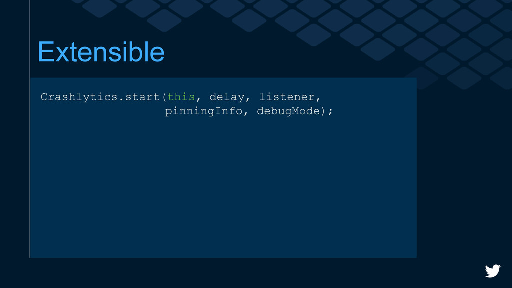Extensible Crashlytics.start(this, delay, liste...