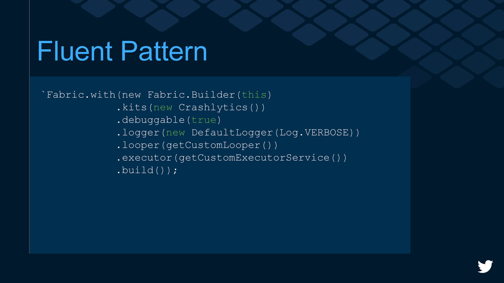 Fluent Pattern `Fabric.with(new Fabric.Builder(...