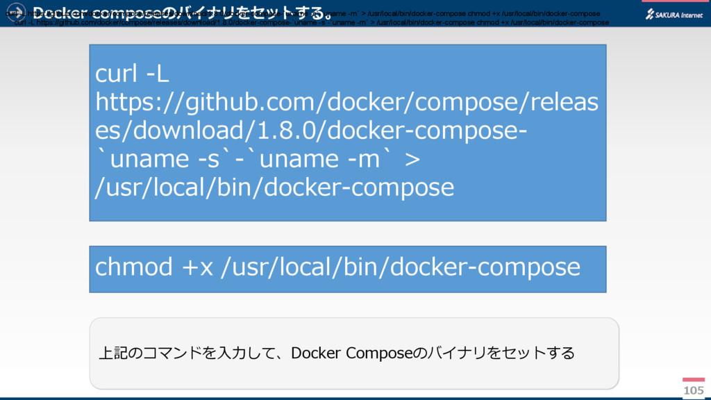Docker composeのバイナリをセットする。 105 上記のコマンドを入力して、Doc...