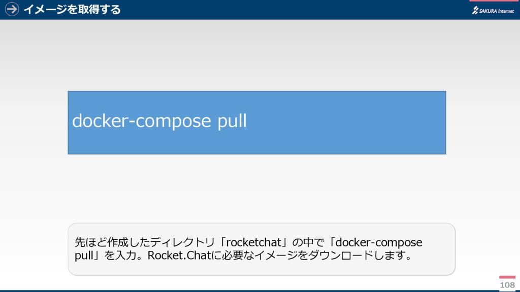 イメージを取得する 108 先ほど作成したディレクトリ「rocketchat」の中で「dock...