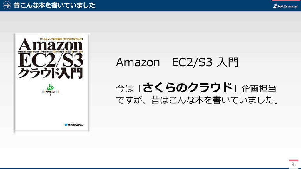 昔こんな本を書いていました Amazon EC2/S3 入門 今は「さくらのクラウド」企画担当...