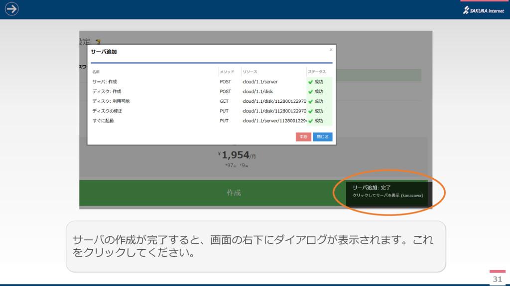 31 サーバの作成が完了すると、画面の右下にダイアログが表示されます。これ をクリックしてくだ...