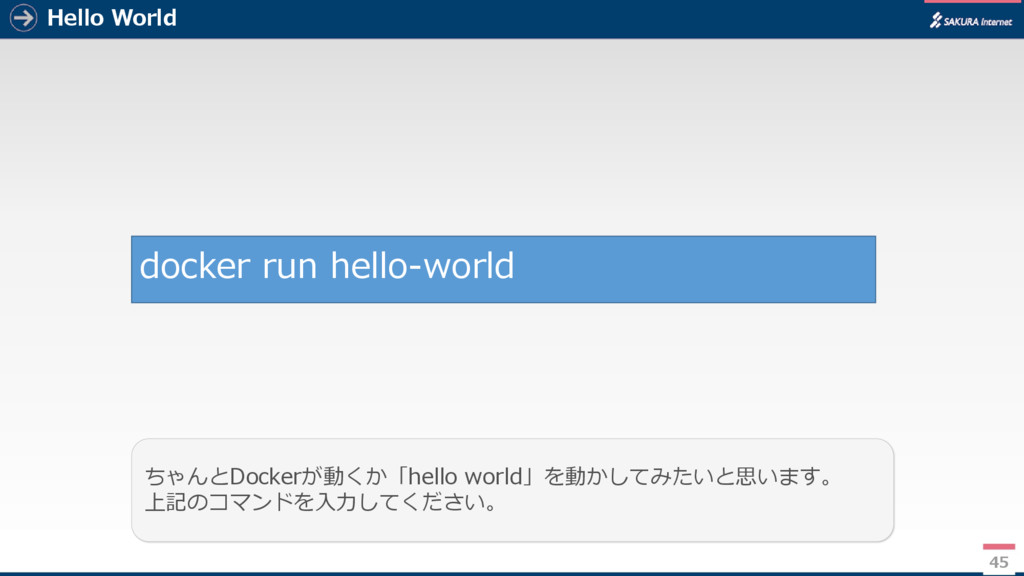 Hello World 45 ちゃんとDockerが動くか「hello world」を動かして...