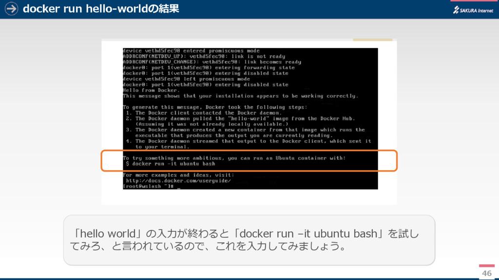 docker run hello-worldの結果 46 「hello world」の入力が終...