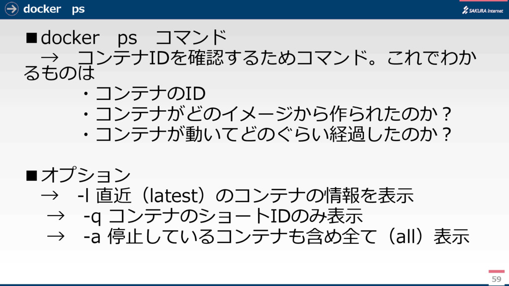 docker ps ■docker ps コマンド → コンテナIDを確認するためコマンド。こ...