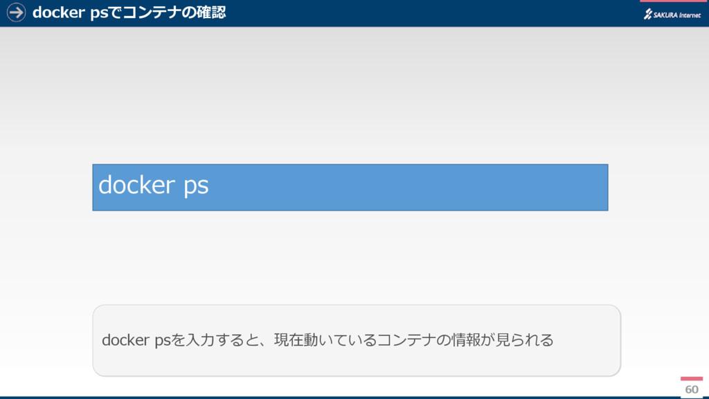 docker psでコンテナの確認 60 docker psを入力すると、現在動いているコンテ...