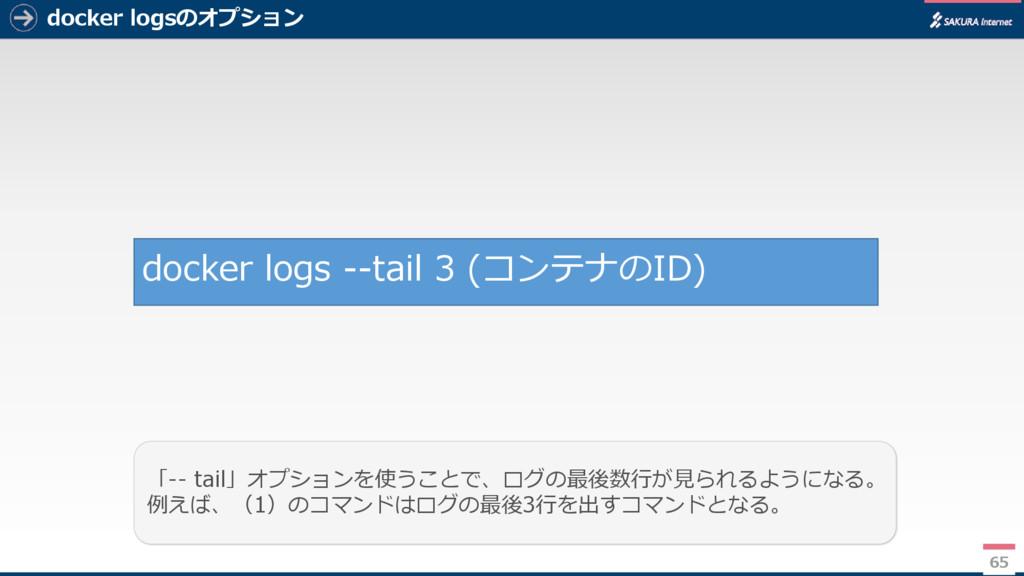docker logsのオプション 65 「-- tail」オプションを使うことで、ログの最後...
