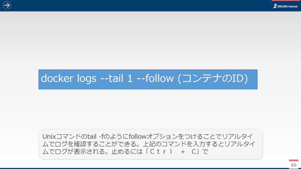 66 docker logs --tail 1 --follow (コンテナのID) Unix...