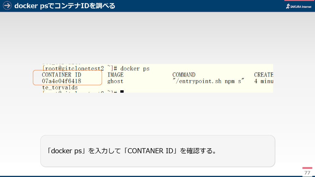 docker psでコンテナIDを調べる 77 「docker ps」を入力して「CONTAN...