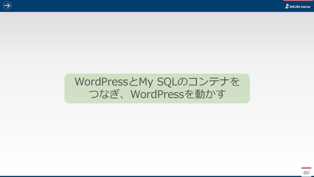 80 WordPressとMy SQLのコンテナを つなぎ、WordPressを動かす