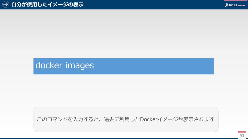 自分が使用したイメージの表示 93 このコマンドを入力すると、過去に利用したDockerイメー...