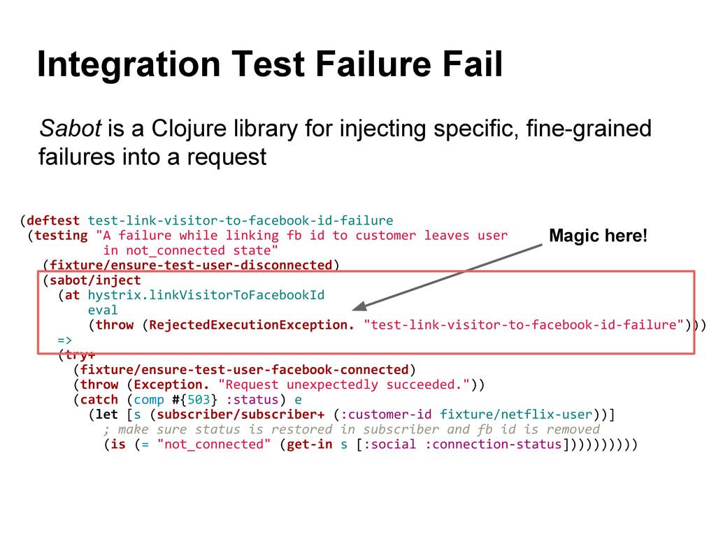 Integration Test Failure Fail (deftest test-lin...