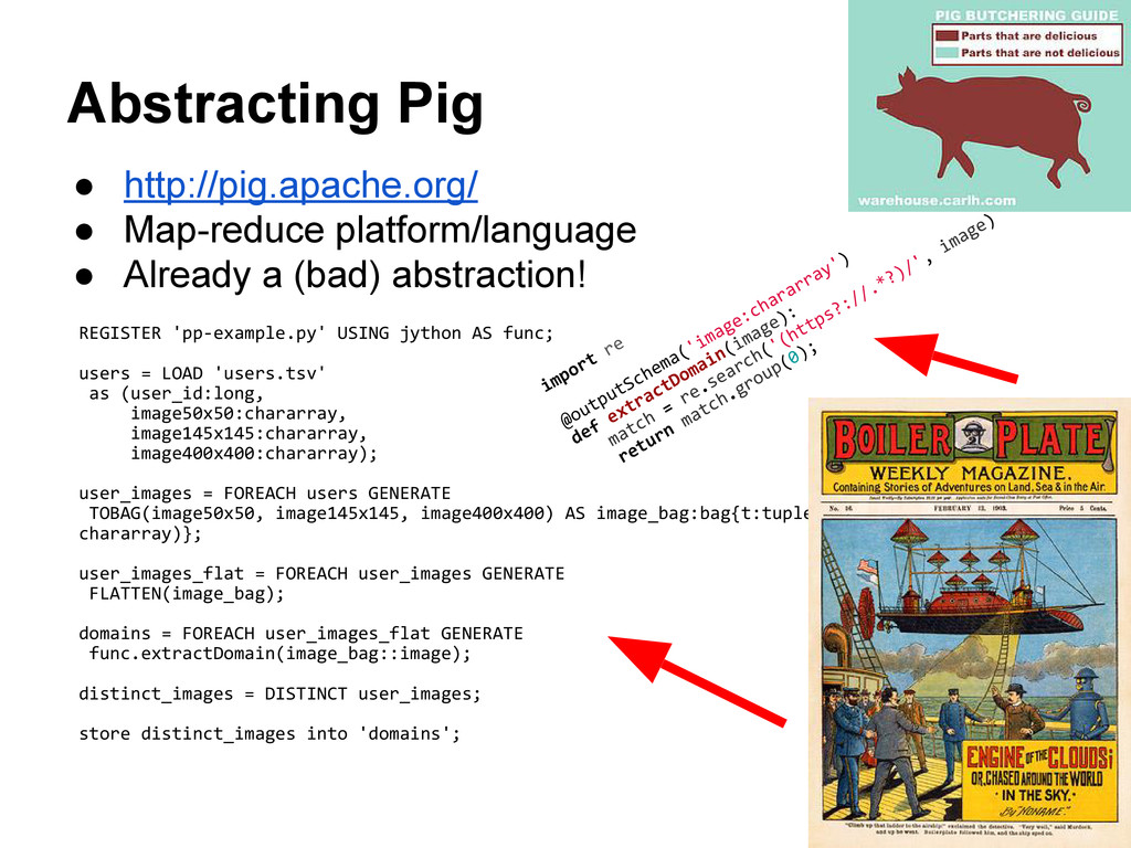 Abstracting Pig ● http://pig.apache.org/ ● Map-...